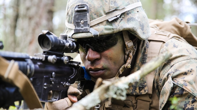 Lithuanian forces are teamed with U.S. Marines from the Black Sea Rotational Force during Exercise Saber Strike at the Pabrade Training Area, Lithuania, June 9, 2015. Fifteen nations and more than 7,000 service members are participating in Saber Strike.