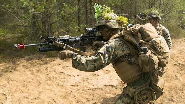 Lithuanian forces are teamed with U.S. Marines from the Black Sea Rotational Force during Exercise Saber Strike at the Pabrade Training Area, Lithuania, June 9, 2015.  The exercise brings NATO allies and other partner nations together in eastern Europe for a multilateral training event designed to promote regional stability and security, strengthen partnerships, and foster trust.