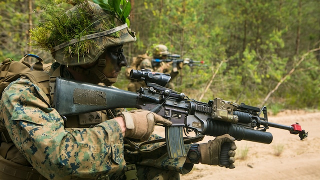 Lithuanian forces are teamed with U.S. Marines from the Black Sea Rotational Force during Exercise Saber Strike at the Pabrade Training Area, Lithuania, June 9, 2015. The exercise allows NATO allies and partner nations to hone their tactics in a multilateral environment to improve interoperability.