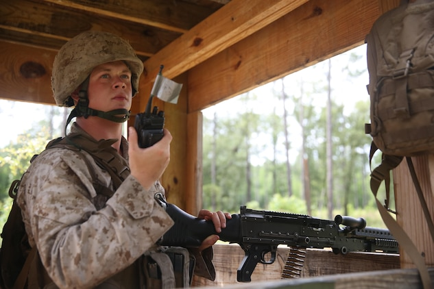 Cpl. Seth Pettengill mans a machine gun turret during a field exercise on Fort Stewart, Ga., June 1-7. The exercise included combat simulations that tested the reaction times of the Marines. Pettengill is a combat engineer team leader with Marine Wing Support Squadron 273, Marine Aircraft Group 31.