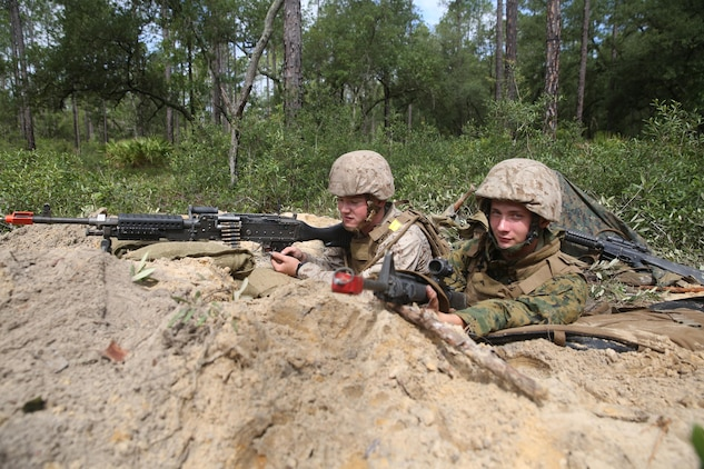 Lance Cpl. Christian Gruner and Pfc. Bryan Walton defend their fighting position during a field exercise on Fort Stewart, Ga., June 1-7. Marines were unaware of when simulated attacks would happen and had to be vigilant at all times during the exercise. Gruner is a facilities manager with Marine Wing Support Squadron 273, Marine Aircraft Group 31. Walton is a field wireman with MWSS-273, MAG-31.
