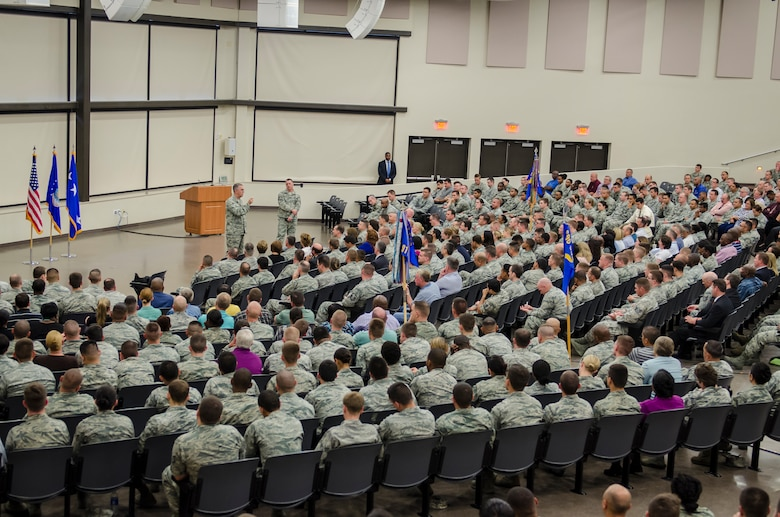 Gen. John E. Hyten, Air Force Space Command commander and Chief Master Sgt. Douglas L. McIntyre, Air Force Space Command command chief speak to the men and women of 24th Air Force during an All-Call at the Pfingston Reception Center located on Joint Base San Antonio – Lackland, Texas, June 3. Hyten and McIntyre concluded their multi-day by sharing their insights on the importance of the Air Force's cyber mission as well as the importance of being a good Wingman to fellow Airmen. (U.S. Air Force photo by Master Sgt. Luke P. Thelen/Released)