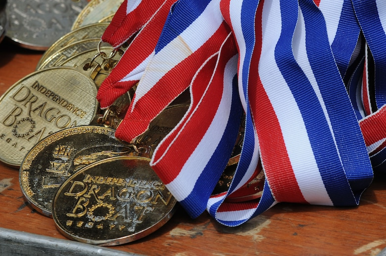 Medals for this year's Independence Dragon Boat Regatta are displayed during the event in Philadelphia, June 6, 2015. The 111th Attack Wing of Horsham Air Guard Station, Pennsylvania, participated in the competition with their dragon boat team, the 111th Argonauts. (U.S. Air National Guard photo by Tech. Sgt. Andria Allmond/Released)