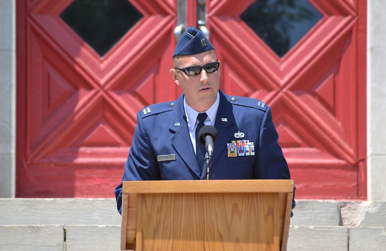 Capt. Aaron Shick, 111th Attack Wing Air Operations Group logistics readiness officer, Horsham Air Guard Station, Pennsylvania, closed the 55th Annual Avenues of Flags ceremony in Whitemarsh Memorial Park, Ambler, Pennsylvania on May 25, 2015. The event hosted hundreds of locals and residents.(U.S. Air National Guard photo by Master Sgt. Christopher Botzum/Released)