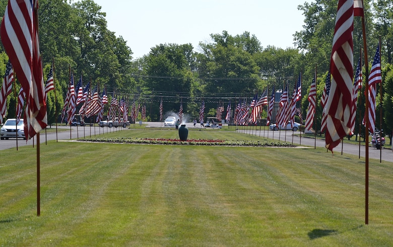 Hundreds of American flags adorn the winding roadways at the 55th Annual Avenues of Flags ceremony at Whitemarsh Memorial Park, Ambler, Pennsylvania during 2015's Memorial Day weekend. (U.S. Air National Guard photo by Master Sgt. Christopher Botzum/Released)