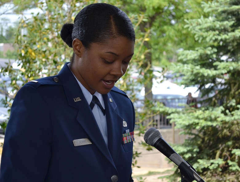"""The Constitution and Bill of Rights gave Americans the freedom of speech, religion, demonstration and the freedom to bear arms,"" said keynote speaker, 1st Lt. Charese Adams, 201st RED HORSE, Det. 1 logistics readiness officer here, May 16, 2015during the Third Annual Armed Forces Day recognition ceremony at the Valley Forge Casino, Valley Forge, Pennsylvania. (U.S. Air National Guard photo by Master Sgt. Christopher Botzum/Released)"