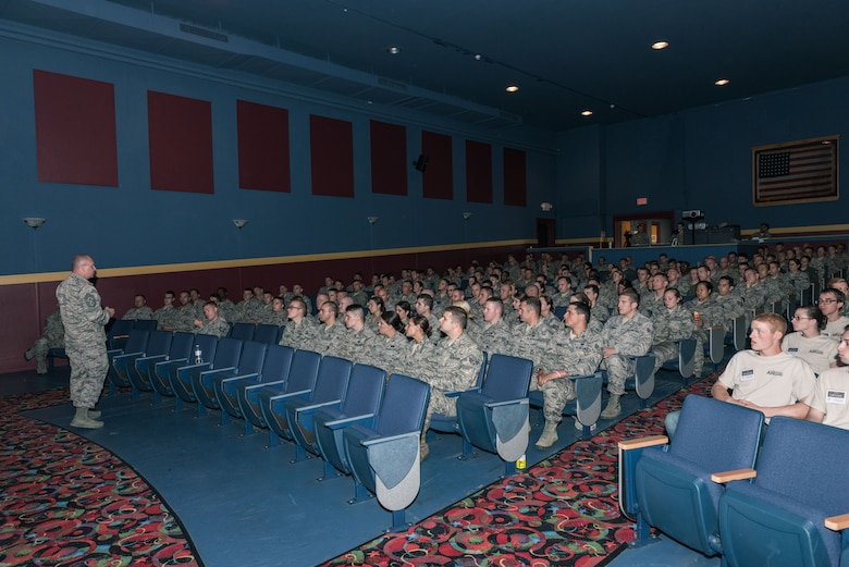 Chief Master Sgt. James W. Hotaling, Command Chief Master Sergeant of the Air National Guard, addresses the junior enlisted members of the 107th AW during an enlisted all call at Niagara Falls Air Reserve Station on June 13, 2015. (U.S. Air National Guard photo/Staff Sgt. Ryan Campbell)