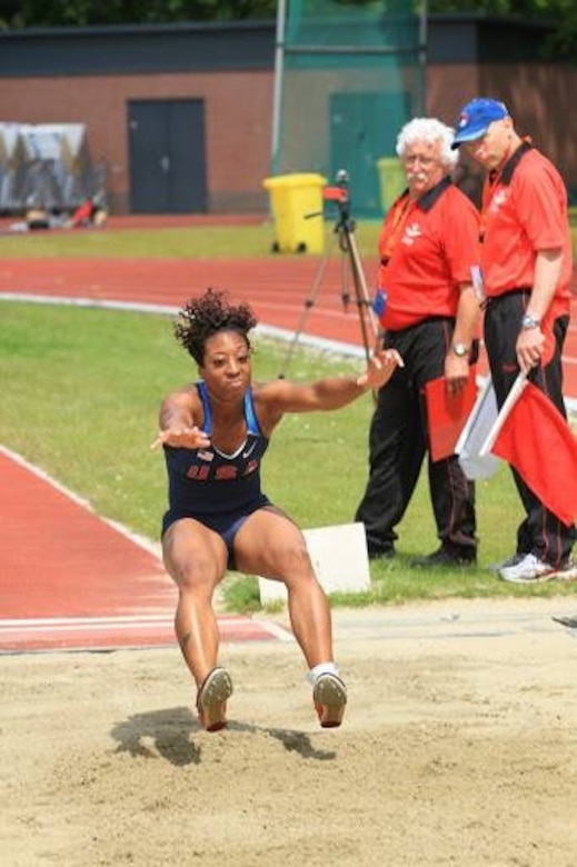 Master Sgt. Latisha Moulds, recruiting and retention NCO at the 101 Air Operations Group, participated in the HQ Aircom Track and Field Championships May 26-28, 2015.