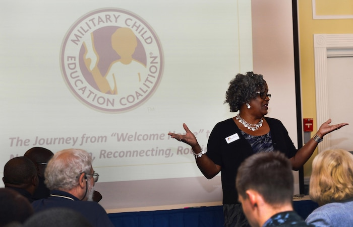 """Military Child Education Coalition professional development trainer, Charlotte Adams-Graves, begins training more than 40 Albany, Georgia, area educators, public school administrators, social workers as well as other base and local professionals on """"The Journey from 'Welcome Home' to Now: Reunion, Reconnecting, Routine."""" The daylong event was held at the base's Major S.P. """"Swede"""" Hansen Officers' Lounge, June 16."""