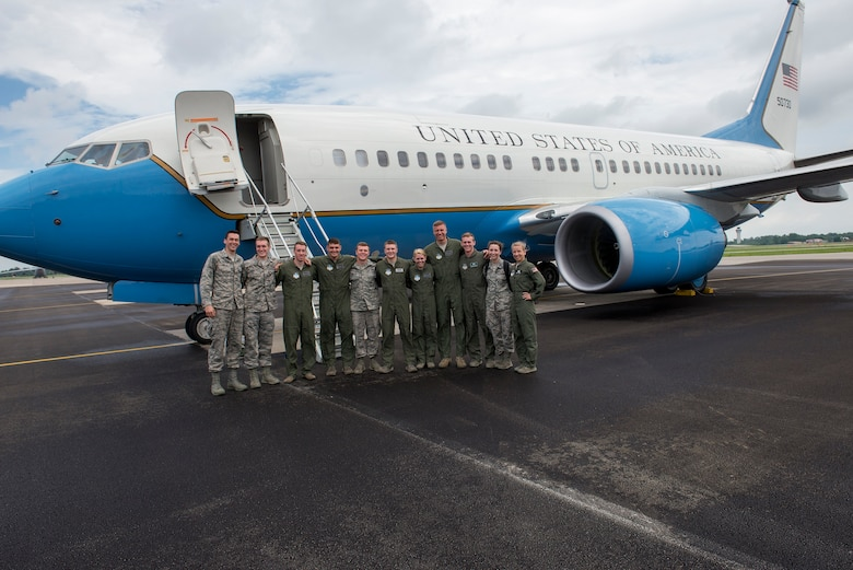 Cadets from the Air Force Academy toured and flew on a C-40 for part of the Air Force Operations program June 8, 2015 at Scott Air Force Base, Illinois. The cadets toured Scott from June 2 to 17 to gain exposure to what a real-world Air Force base environment is like. (U.S. Air Force Photo by Airman 1st Class Megan Friedl)
