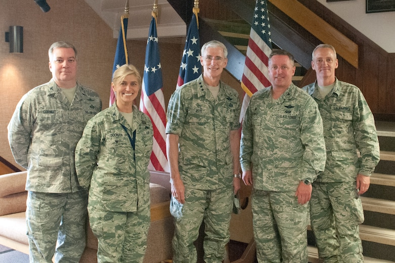 Lt. Gen. Robert Otto, Deputy Director for Intelligence, Surveillance and Reconnaissance (ISR), Headquarters U.S. Air Force, meets with 102nd Intelligence Wing leadership during a visit to Otis Air National Guard Base, Mass., June 3, 2015.  (Air National Guard photo by Mr. Timothy D. Sandland)