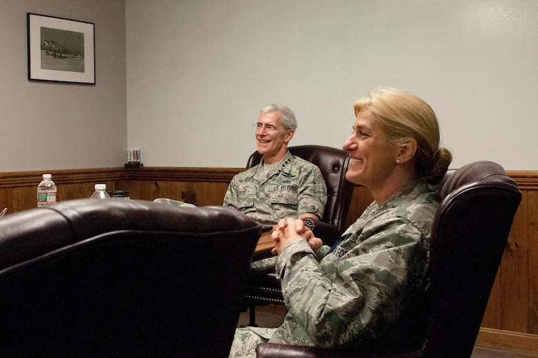 Lt. Gen. Robert Otto, Deputy Director for Intelligence, Surveillance and Reconnaissance (ISR), Headquarters U.S. Air Force, receives a mission briefing 102nd Intelligence Wing from Col. James LeFavor during a visit to Otis Air National Guard Base, Mass., June 3, 2015. Also pictured is the Col. Virginia Doonan, Vice Commander, 102 IW.  (Air National Guard photo by Mr. Timothy D. Sandland)