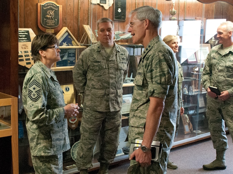 Lt. Gen. Robert Otto, Deputy Director for Intelligence, Surveillance and Reconnaissance (ISR), Headquarters U.S. Air Force, chats with Chief Master Sgt. Karen Cozza, 102nd Intelligence Wing Command Chief during a visit to Otis Air National Guard Base, Mass., June 3, 2015.  (Air National Guard photo by Mr. Timothy D. Sandland)