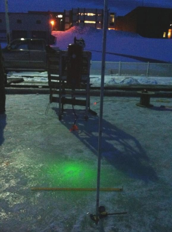 CRREL collaborates with Woods Hole Oceanographic Institution (WHOI) and Scott Polar Research Institute to detect oil under sea ice in the Geophysical Research Facility.