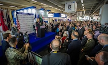 Secretary of the Air Force Deborah Lee James speaks to U.S. senators and governors during the U.S. pavillion opening ceremony June 15, 2015, at the 51st International Paris Air Show at Le Bourget Airport, France. The air show provided a collaborative opportunity to share and strengthen the U.S. and European strategic partnership that has been forged during the last seven decades and is built on a foundation of shared values, experiences and vision. (U.S. Air Force photo/Tech. Sgt. Ryan Crane)