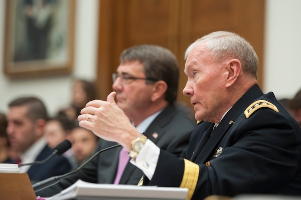 Chairman of the Joint Chiefs of Staff Army Gen. Martin E. Dempsey and Secretary of Defense Ashton Carter testify before the House Armed Services Committee in Washington, D.C., June 17, 2015. DoD photo by Navy Mass Communication Specialist 1st Class Daniel Hinton