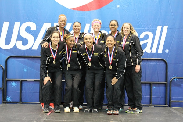 Army Women capture their third straight Armed Forces Volleyball gold medal during the 2015 Armed Forces Volleyball Championship held in conjunction with the USA Volleyball National Championship at the COBO Center in Detroit, Mich. 22-24.