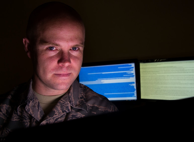Tech. Sgt. Kevin is a 15th Reconnaissance Squadron intelligence operations supervisor and the intelligence flight NCO in charge at Creech Air Force Base, Nev. He created a program called Squadron Intelligence Reconnaissance Interface, codenamed SIRI, which is an application used by remotely piloted aircraft crew members to execute the mission more efficiently while being more situationally aware. SIRI helps aircrews by acting as a search engine to quickly relay conversions, locations, abbreviations and other information resulting in over 58 command functions on the most used secure internet relay chat by RPA aircrews. (U.S. Air Force photo/Airman 1st Class Christian Clausen)