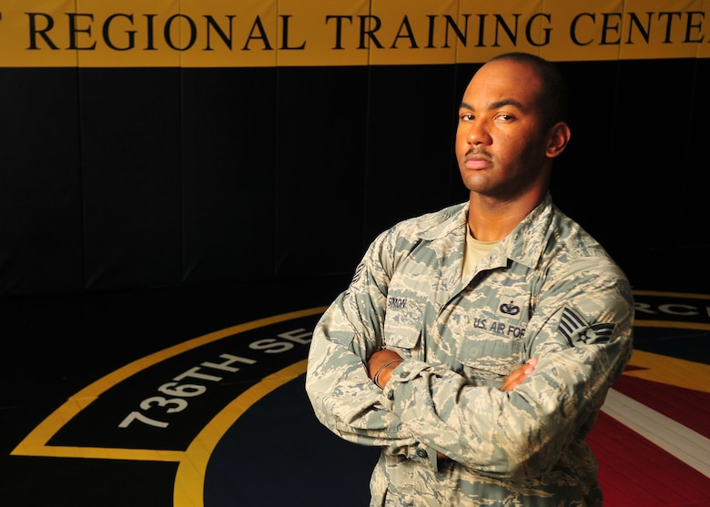 Staff Sgt. Felix Simon is a 736th Security Forces Squadron combatives instructor at the Pacific Regional Training Center on Andersen Air Force Base, Guam. Simon instructs security forces members in combatives and other tactical skills. (U.S. Air Force photo by Senior Airman Alexander W. Riedel/Released)