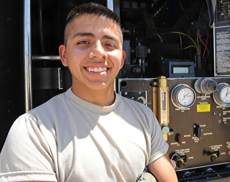 Airman Carlos Stear, 9th Logistics Readiness Squadron fuels distribution operator, poses for a photo June 16, 2015, at Beale Air Force Base, California. (U.S. Air Force photo by Airman Preston Cherry/Released)