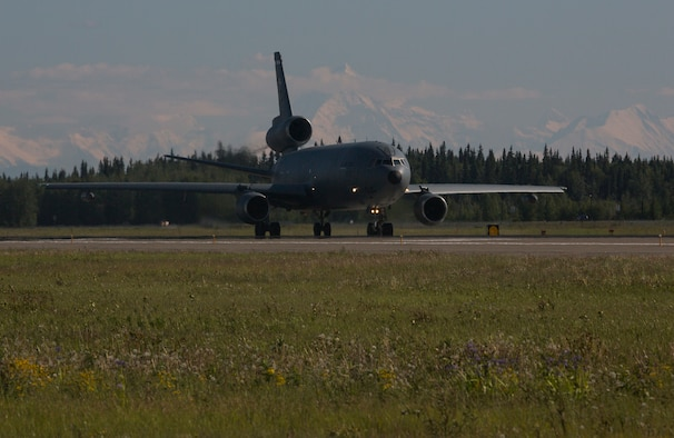 A U.S. Air Force KC-10 Extender aircraft assigned to the 60th Air Mobility Wing, Travis Air Force Base, Calif., prepares to take off June 15, 2015, during Exercise Northern Edge 15 at Eielson Air Force Base, Alaska. Northern Edge 15 is Alaska's premier joint training exercise designed to practice operations, techniques and procedures as well as enhance interoperability among the services. Thousands of participants from all the services, Airmen, Soldiers, Sailors, Marines and Coast Guardsmen from active duty, Reserve and National Guard units are involved. (U.S. Marine Corps photo by Staff Sgt. Jeffrey D. Anderson/ Released)
