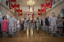 BGen Kevin Killea (left) and BGen Julian Alford (right) stand at attention as the colors are marched on during the Marine Corps Warfighting Laboratory Change of Command Ceremony Thursday June 18, 2015.