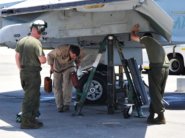 Marines perform pre-flight maintenance on an F/A-18D Hornet in preparation for a live-fire missile shoot on Tyndall Air Force Base in Panama City, Fla., June 15. Pilots and ground crew received vital experience during simulated combat missions to increase mission readiness. The Marines are with Marine All-Weather Fighter Attack Squadron 224, Marine Aircraft Group 31.