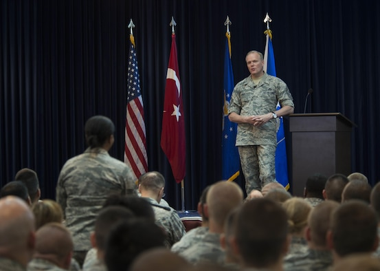 Chief Master Sgt. of the Air Force James Cody answers questions from Airmen during an all call June 17, 2015, at Incirlik Air Base, Turkey. Cody addressed challenges and opportunities facing today's Airmen, such as possible changes to retirement plans, Senior NCO Academy and the importance of spending time with family and friends. (U.S. Air Force photo/Airman 1st Class Cory W. Bush)