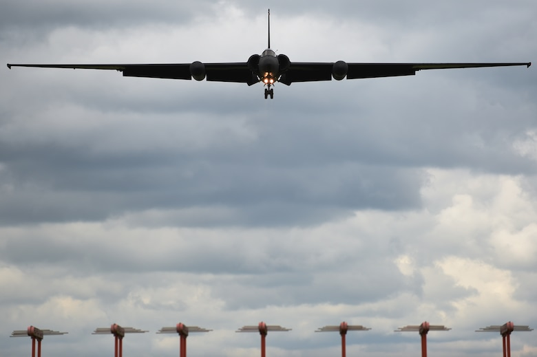 A U-2 from Beale Air Force Base, Calif., prepares to land at Royal Air Force Fairford, England, June 9, 2015. U-2 pilots have a small margin of space to effectively land the plane without causing damage to the aircraft. (U.S. Air Force photo/Staff Sgt. Jarad A. Denton)