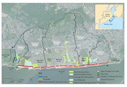 Map depicts various elements of a Coastal Storm Risk Management Plan being recommended in a Draft South Shore of Staten Island Coastal Storm Risk Management Feasibility Study released for public feedback in June 2015.