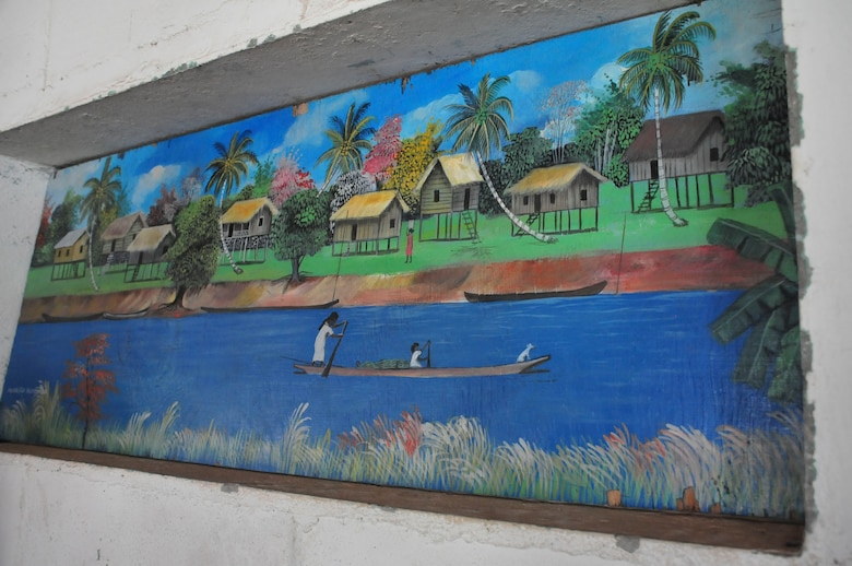 PUERTO LEMPIRA, Honduras – A painting of traditional fishing practices adorns the wall of a Puerto Lempira municipal building June 18, 2015. A bi-lateral delegation of leaders from the Special Purpose Marine Air Ground Task Force-Southern Command and Joint Task Force-Bravo, both stationed at Soto Cano Air Base, Honduras, met here with leaders from Gracias a Dios Department to provide clarity on the Marines' upcoming construction projects in the region. (U.S. Air Force Photo by Capt. Christopher Love)