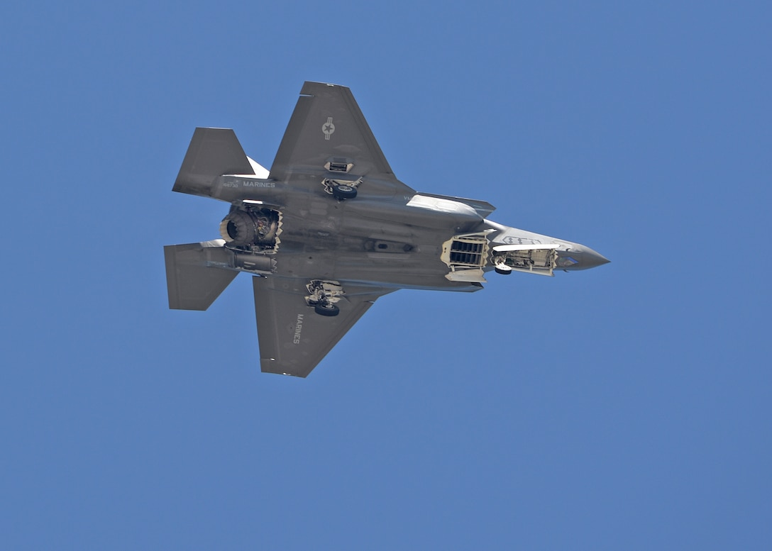 First ever check flight of an USMC F-35B STOVL Joint Strike Fighter aircraft at Hill AFB, Utah June 18. The aircraft was undergoing a functional check flight following modifications at the Ogden Air Logistics Complex. (Air Force photo by Alex R. Lloyd)