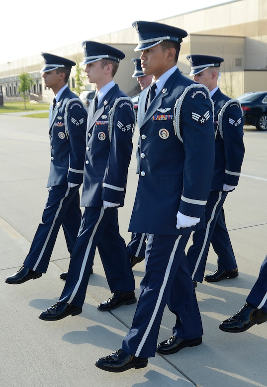 Honor Guard members go through frequent inspections to ensure their uniforms are perfect. (U.S. Air Force photo by Ed Aspera)