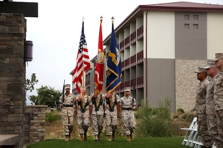 Members of the 1st Medical Battalion Color Guard march on the Colors during the 117th Hospital Corps Birthday ceremony aboard Camp Pendleton, Calif., June 17, 2015. The Hospital Corps came into existence as an organized unit of the medical department under the provision of an act of congress approved June 17, 1898. The hospital corpsmen work in a wide variety of capacities and locations, including shore establishments such as naval hospitals and clinics, aboard ships, and as the primary medical caregivers for Sailors and Marines while underway and forward deployed. (U.S. Marine Corps photo by Sgt. Laura Gauna/ Released)