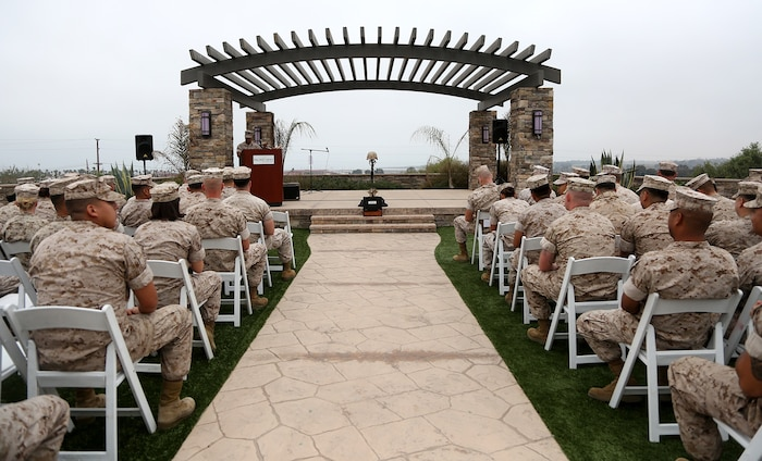 Service members of 1st Medical Battalion, 1st Marine Logistics Group, and distinguished guests, wait for the 117th Hospital Corps Birthday ceremony to begin aboard Camp Pendleton, Calif., June 17, 2015. The Hospital Corps came into existence as an organized unit of the medical department under the provision of an act of congress approved June 17, 1898. The hospital corpsmen work in a wide variety of capacities and locations, including shore establishments such as naval hospitals and clinics, aboard ships, and as the primary medical caregivers for Sailors and Marines while underway and forward deployed. (U.S. Marine Corps photo by Sgt. Laura Gauna/ Released)