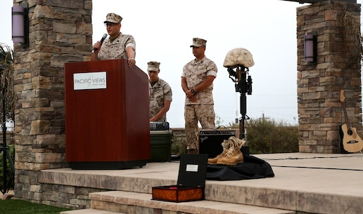 Command Master Chief Edgar M. Santiago, 1st Medical Battalion, 1st Marine Logistics Group, speaks to Sailors and Marines during the 117th Hospital Corps Birthday ceremony aboard Camp Pendleton, Calif., June 17, 2015. The Hospital Corps came into existence as an organized unit of the medical department under the provision of an act of congress approved June 17, 1898. The hospital corpsmen work in a wide variety of capacities and locations, including shore establishments such as naval hospitals and clinics, aboard ships, and as the primary medical caregivers for Sailors and Marines while underway and forward deployed. (U.S. Marine Corps photo by Sgt. Laura Gauna/ Released)