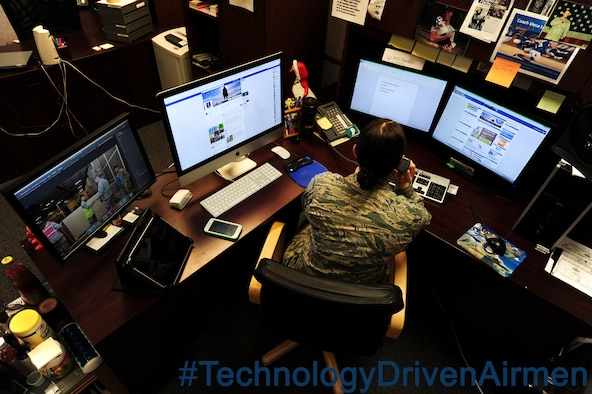 Today's Airman is a multi-tasking and technology-driven Airman. Technology-driven Airmen are changing the way the Air Force and its leaders operate. Technology plays a role in how Airmen connect, perform their duties and how leaders share information. The way the Air Force has adapted and will continue to adapt to advances in technology is the reason the Air Force is the leader in cyberspace. (U.S. Air Force photo illustration by Airman 1st Class Ryan Sparks/released)