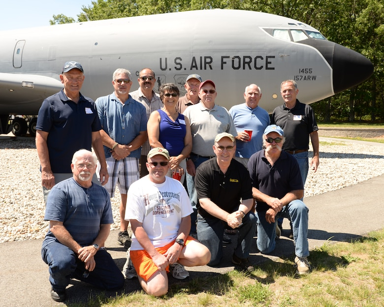 Former aircraft maintenance crew chiefs from the 157th Air Refueling Wing pose for a photograph in front of the KC-135 Stratotanker static display during the Annual Retiree Day on June 17, 2015 at Pease Air National Guard Base, N.H.  (U.S. Air National Guard photo by Staff Sgt. Curtis J. Lenz)
