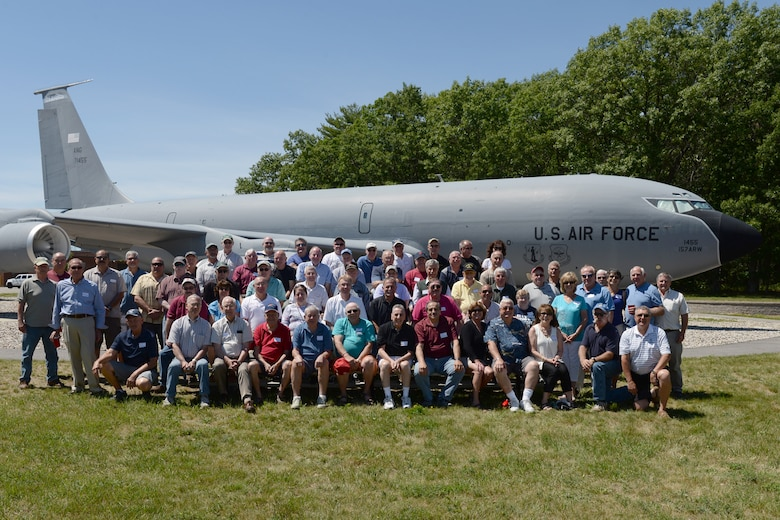 Former members of the 157th Air Refueling Wing pose for a photograph in front of the KC-135 Stratotanker static display during the Annual Retiree Day on June 17, 2015 at Pease Air National Guard Base, N.H.  (U.S. Air National Guard photo by Staff Sgt. Curtis J. Lenz)
