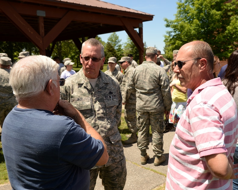 Chief Master Sgt. Dean Rice speaks to retirees during the Annual Retiree Day on June 17, 2015 at Pease Air National Guard Base, N.H.  (U.S. Air National Guard photo by Staff Sgt. Curtis J. Lenz)