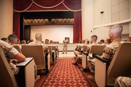 Sgt. Maj. Ronald L. Green, the 18th Sergeant Major of the Marine Corps, visits and speaks to Marines assigned to The Basic School and the Officer Canidate School aboard Marine Corps Base Quantico, Va., June 22, 2015. (U.S. Marine Corps photo by Sgt. Melissa Marnell/Released)