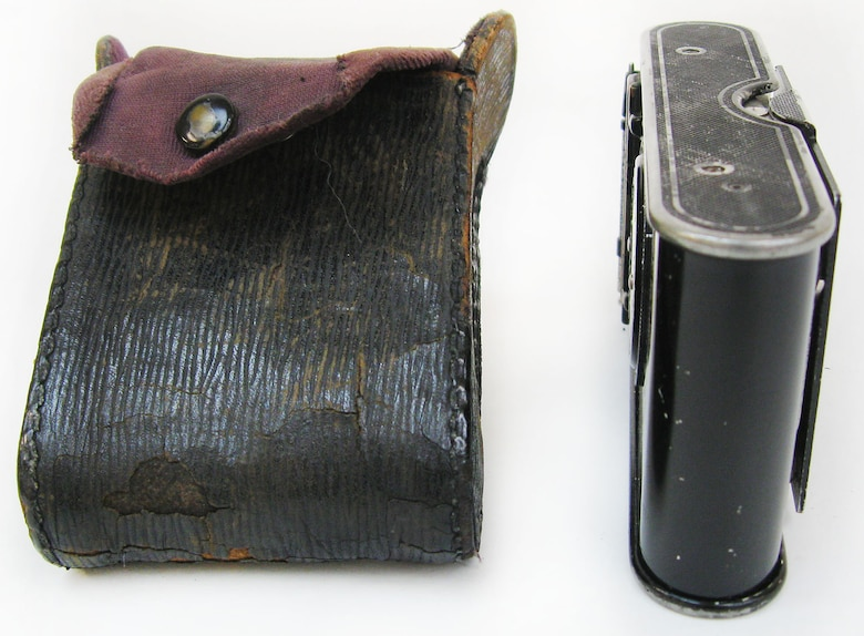 "This is a folding style camera that, when not extended for use, can be carried in one's jacket or vest pocket. Kodak advertised this vest pocket camera as ""the soldier's camera"" during World War I. It was one of the most popular and best-selling cameras bought and used during the war and into the 1920s. (U.S. Air Force photo)"