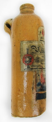 This is a clay ink bottle that once contained blue 4001 ink produced by Pelikan. Around the time of World War I, blue 4001 was the most popular ink color sold by Pelikan. (U.S. Air Force photo)