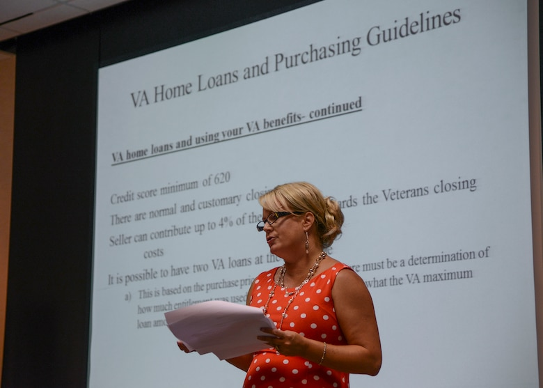 Denise Dee, VA Loan specialist, shares the purchasing guidelines for buying a home using VA financing during a home buyer's seminar June 17. The seminar was put on by the Edwards Housing Management Office at the Airman and Family Readiness Center. (U.S. Air Force photo by Rebecca Amber)