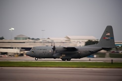 Aircrew flying a modified C-130 Hercules assigned to the 910th Airlift Wing, Youngstown Air Reserve Station, Ohio, prepares to take off June 19, 2015, at Joint Base Charleston, South Carolina. The C-130 Hercules and crew sprayed to eradicate mosquitos on the Joint Base Charleston Weapons Station and is the only unit of its kind. The crew performed aerial spraying at night to increase the chances of eliminating mosquitoes while reducing the risk of contaminating bees.  (U.S. Air Force photo/Senior Airman Jared Trimarchi)