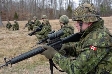 Canadian army soldiers from the 1st Battalion, Novia Scotia Highlanders (North), prepare to fire on a range at Fort Pickett, Va., Feb. 16, 2009.