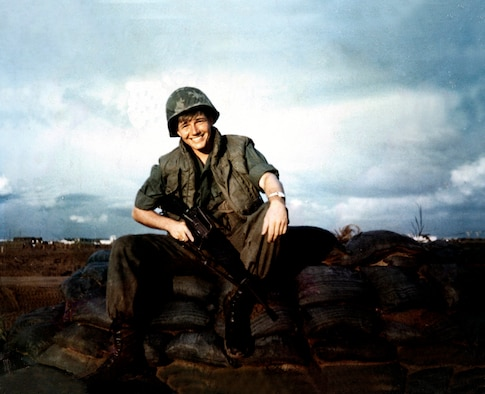 Private First Class Michael Petersen takes a moment for a photo at his main operating base in Can Tho Army Airfield, Vietnam in 1969. Petersen served in the Army during the Vietnam War and was assigned to the 156th Aviation Company, where he oversaw the maintenance of 17 U-6 Beavers, which were fixed wing, radial engine propeller aircraft. After serving in the Army, Petersen later transitioned to the Air Force Reserve in 1977, where he went on to serve 29 additional years and retired as the command chief master sergeant for the 315th Airlift Wing at Joint Base Charleston, S.C. Today, Petersen serves as the director of Equal Opportunity at JB Charleston as a government employee. (Courtesy Photo)
