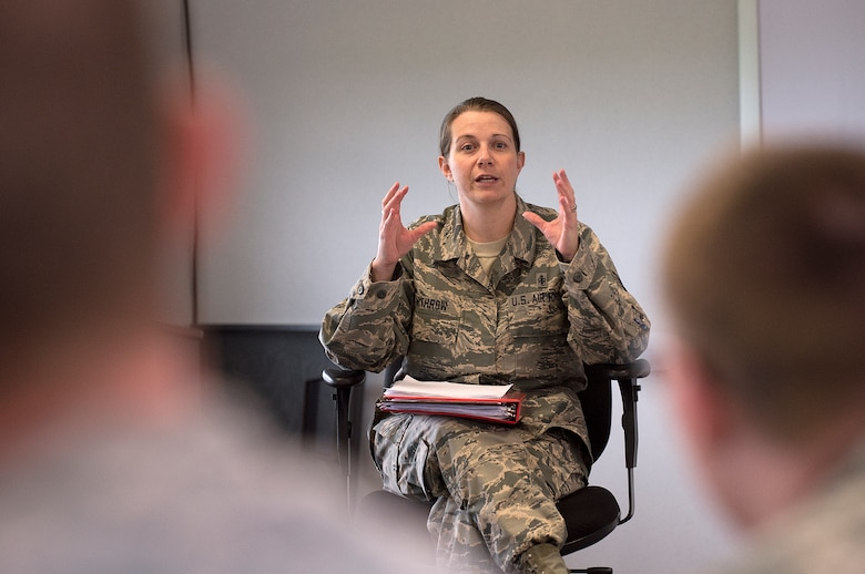 Tech Sgt. Sarah Withrow, 90th Force Support Squadron Airman Leadership School instructor, teaches her class June 15, 2015, on F.E. Warren Air Force Base, Wyo. The Warren ALS earned a perfect score on a recent program management review conducted by its accreditation board. (U.S. Air Force photo by R.J. Oriez)
