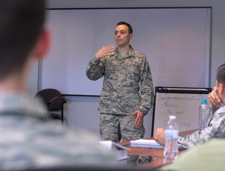 Staff Sgt.  Daniel Rivera, 90th Force Support Squadron Airman Leadership School instructor, talks to his class June 15, 2015, on F.E. Warren Air Force Base, Wyo. ALS is part of the Air Force's professional military education that Airmen go through prior to being promoted to staff sergeant. (U.S. Air Force photo by R.J. Oriez)