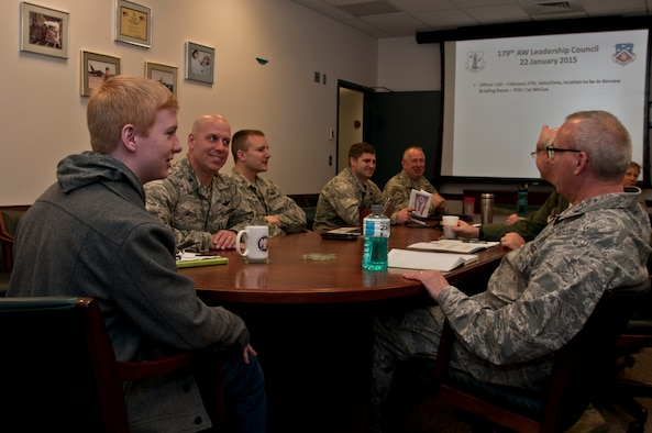 The 179th Airlift Wing Leadership Council welcomes a Richland County Young Leadership Institute nominee to visit the installation in Mansfield, OH, Jan. 11, 2015. Sam Richards, sophmore of Crestview High School, is sitting in on a Wing Leadership meeting and touring sections of the facility related to his career interest. The program selects two sophmores from each High School and during the seven month course the students develop leadership skills and participate in community service projects.  (U.S. Air National Guard Photo by Tech. Sgt. Joe Harwood\Released)